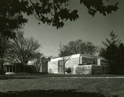 Sterling Morton Library exterior and Administration Building rotunda, southwest side