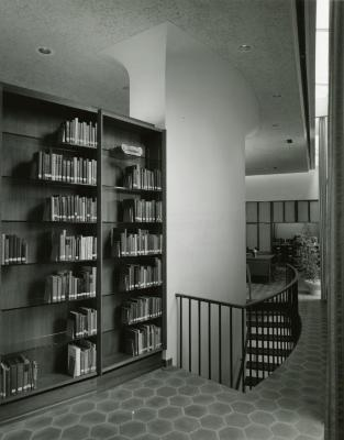 Sterling Morton Library, reading room, stairwell to basement, facing west