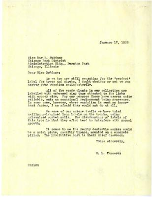 1938/01/17: E. Lowell Kammerer to Miss McAdams