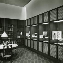 Sterling Morton Library, reading room, exhibit cases and study table, northeast corner