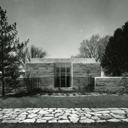 Sterling Morton Library, exterior east wall w/ doors out to May T. Watts Reading Garden