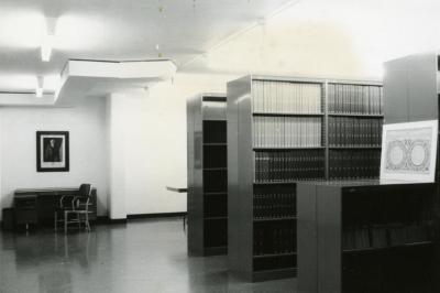 Sterling Morton Library, basement stacks and desk
