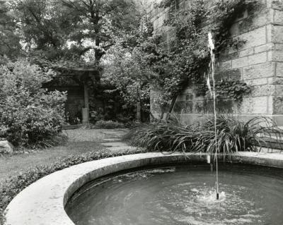 May T. Watts Reading Garden fountain looking southwest