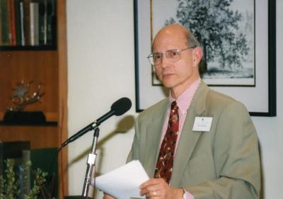 Sterling Morton Library Addition Grand Opening: Michael Stieber introducing guest speaker in Sterling Morton Library