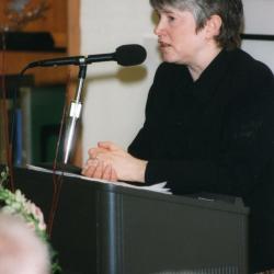 Sterling Morton Library Addition Grand Opening: Charlotte Tancin, invited keynote speaker, at podium in Sterling Morton Library