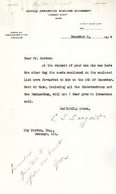 1924/12/08: C. S. Sargent to Joy Morton
