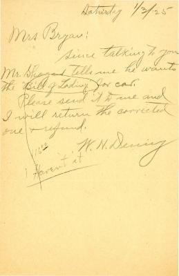 1925/01/03: W. N. [Denny?] to Mrs. Bryan