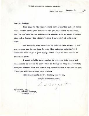 1924/12/01: C. S. Sargent to Joy Morton