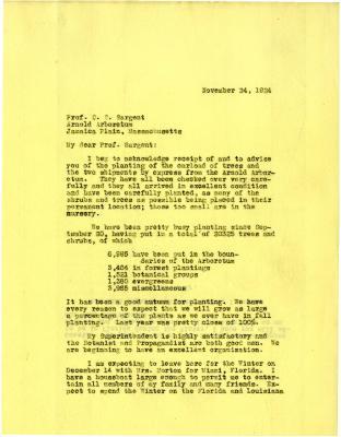 1924/11/24: Joy Morton to C. S. Sargent