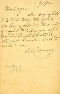1925/01/15: W. N. [Denny?]  to Mrs. Bryan