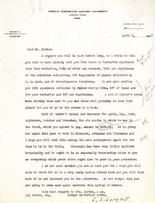 1925/04/03: C. S. Sargent to Joy Morton