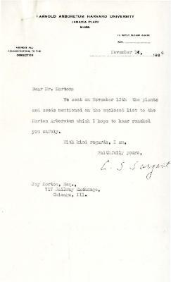1924/11/19: C. S. Sargent to Joy Morton
