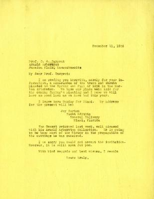 1924/12/11: Joy Morton to C. S. Sargent
