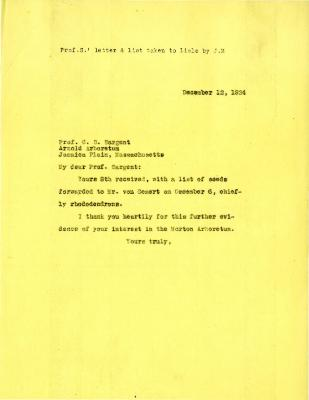 1924/12/12: Joy Morton to C. S. Sargent