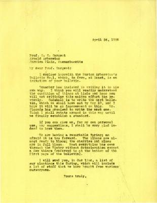 1925/04/24: Joy Morton to C. S. Sargent
