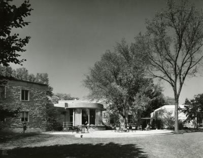 Administration Building and rotunda, view of patio from lawn