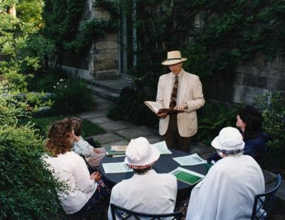 Michael T. Stieber giving summer talk in May T. Watts Reading Garden