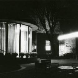 Administration Building rotunda & Sterling Morton Library from patio at night