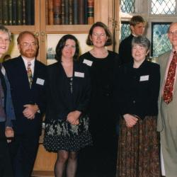 Sterling Morton Library Addition Grand Opening: guests/staff with keynote speaker in Thornhill Founder's Room