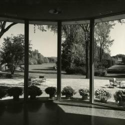 Administration Building Rotunda, view of grounds from inside