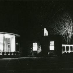 Administration Building rotunda & Sterling Morton Library at night