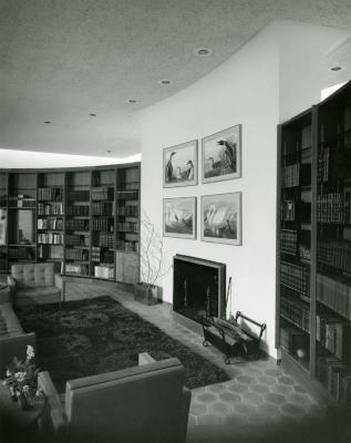Sterling Morton Library, reading room, fireplace seating area