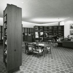 Sterling Morton Library, reading room with guests, panorama facing southeast