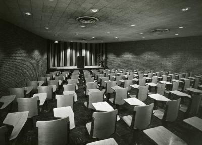 Cudahy Auditorium, podium centered on stage