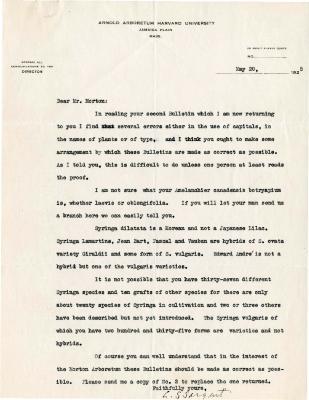 1925/05/20: C. S. Sargent to Joy Morton