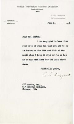 1925/06/05: C. S. Sargent to Joy Morton