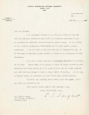 1925/05/07: C. S. Sargent to Joy Morton