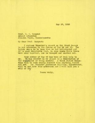 1925/05/29: Joy Morton to C. S. Sargent