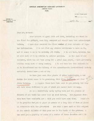 1925/04/29: C. S. Sargent to Joy Morton
