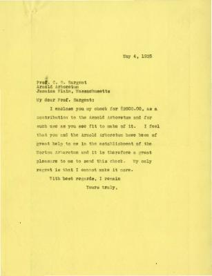 1925/05/04: Joy Morton to C. S. Sargent