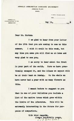 1925/05/14: C. S. Sargent to Joy Morton