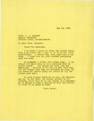 1925/05/12: Joy Morton to C. S. Sargent