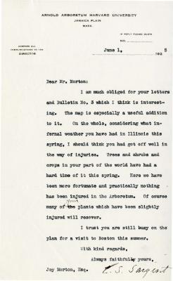1925/06/01: C. S. Sargent to Joy Morton