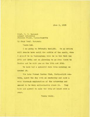 1925/06/03: Joy Morton to C. S. Sargent
