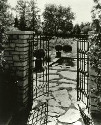 Morton Residence grounds at Thornhill, open gates to residence garden