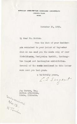 1925/11/20: C. S. Sargent to Joy Morton