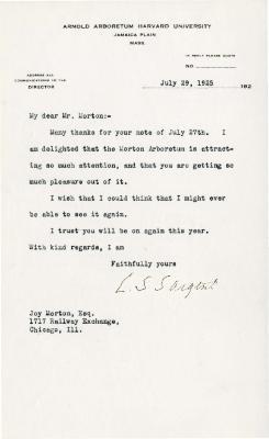 1925/07/29: C. S. Sargent to Joy Morton