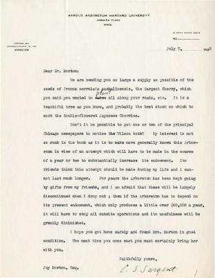 1925/07/07: C. S. Sargent to Joy Morton