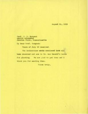 1925/08/11: Joy Morton to C. S. Sargent