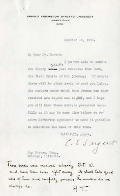 1925/10/10: C. S. Sargent to Joy Morton