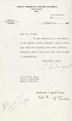 1925/12/01: C. S. Sargent to Joy Morton
