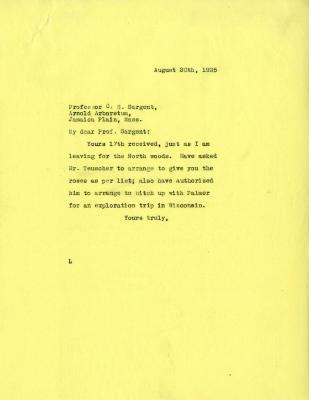 1925/08/20: Joy Morton to C. S. Sargent