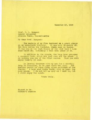 1925/12/10: Joy Morton to C. S. Sargent