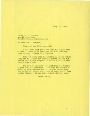 1925/07/27: Joy Morton to C. S. Sargent