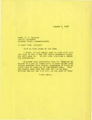 1925/08/03: Joy Morton to C. S. Sargent