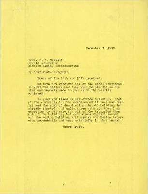 1925/12/07: Joy Morton to C. S. Sargent